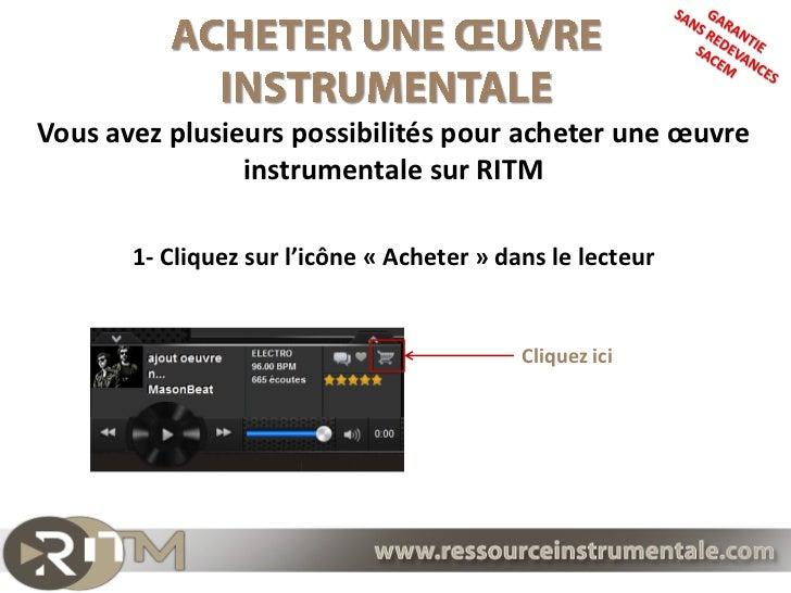 Vous avez plusieurs possibilités pour acheter une œuvre                instrumentale sur RITM       1- Cliquez sur l'icône...
