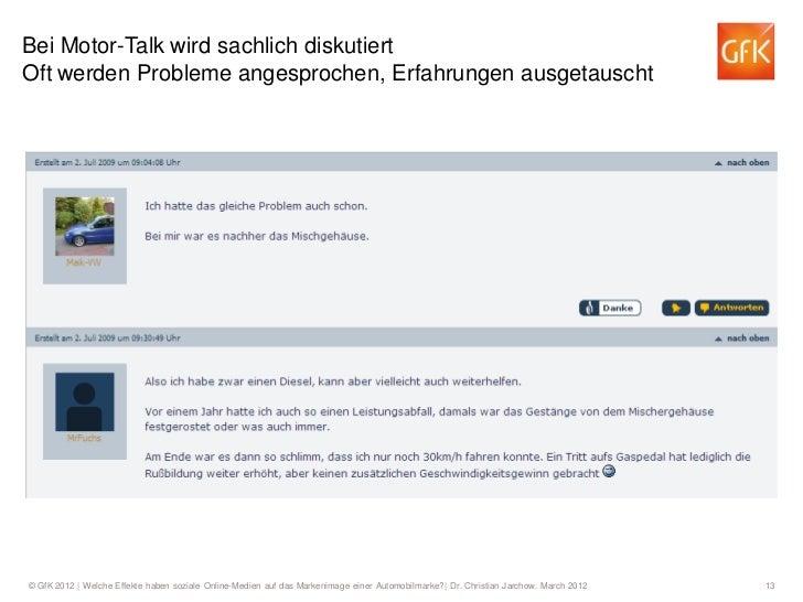 Bei Motor-Talk wird sachlich diskutiertOft werden Probleme angesprochen, Erfahrungen ausgetauscht© GfK 2012   Welche Effek...