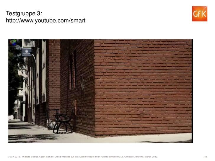 Testgruppe 3:http://www.youtube.com/smart© GfK 2012   Welche Effekte haben soziale Online-Medien auf das Markenimage einer...