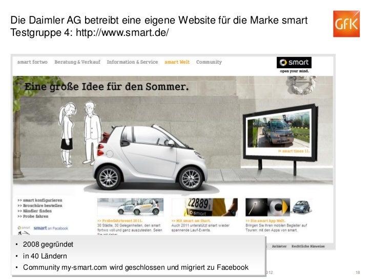 Die Daimler AG betreibt eine eigene Website für die Marke smartTestgruppe 4: http://www.smart.de/ • 2008 gegründet • in 40...