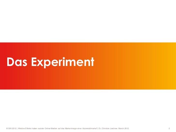 Das Experiment© GfK 2012   Welche Effekte haben soziale Online-Medien auf das Markenimage einer Automobilmarke?  Dr. Chris...