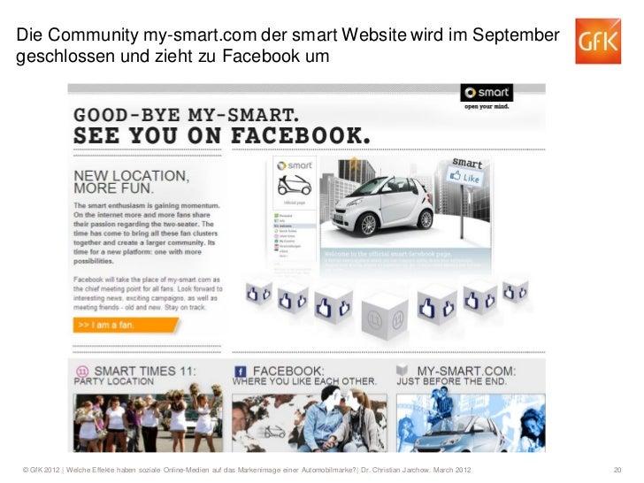 Die Community my-smart.com der smart Website wird im Septembergeschlossen und zieht zu Facebook um© GfK 2012   Welche Effe...