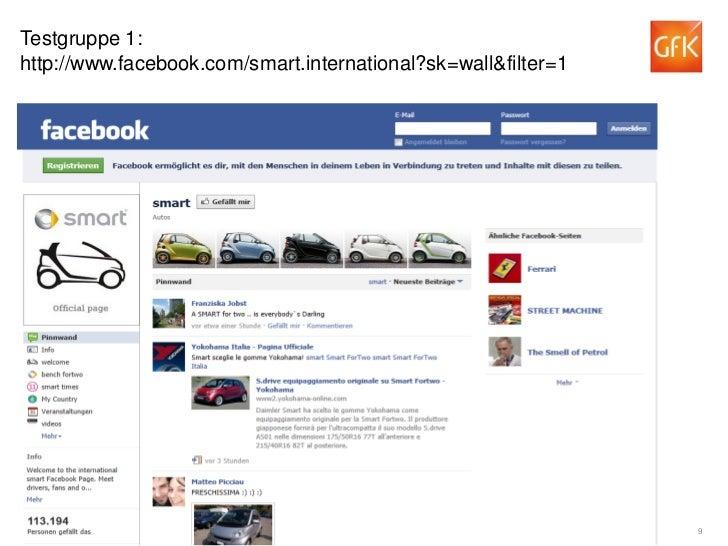 Testgruppe 1:http://www.facebook.com/smart.international?sk=wall&filter=1© GfK 2012   Welche Effekte haben soziale Online-...
