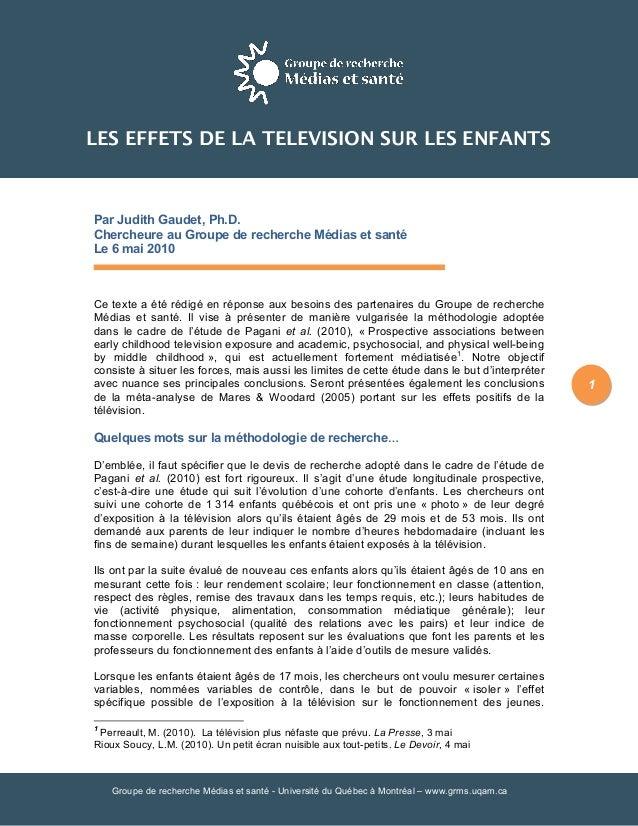 Groupe de recherche Médias et santé - Université du Québec à Montréal – www.grms.uqam.ca 1 Par Judith Gaudet, Ph.D. Cherch...