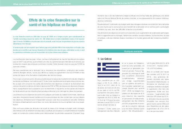 Effets de la crise nancière sur la santé et les hôpitaux en Europe Effets de la crise nancière sur la santé et les hôpit...