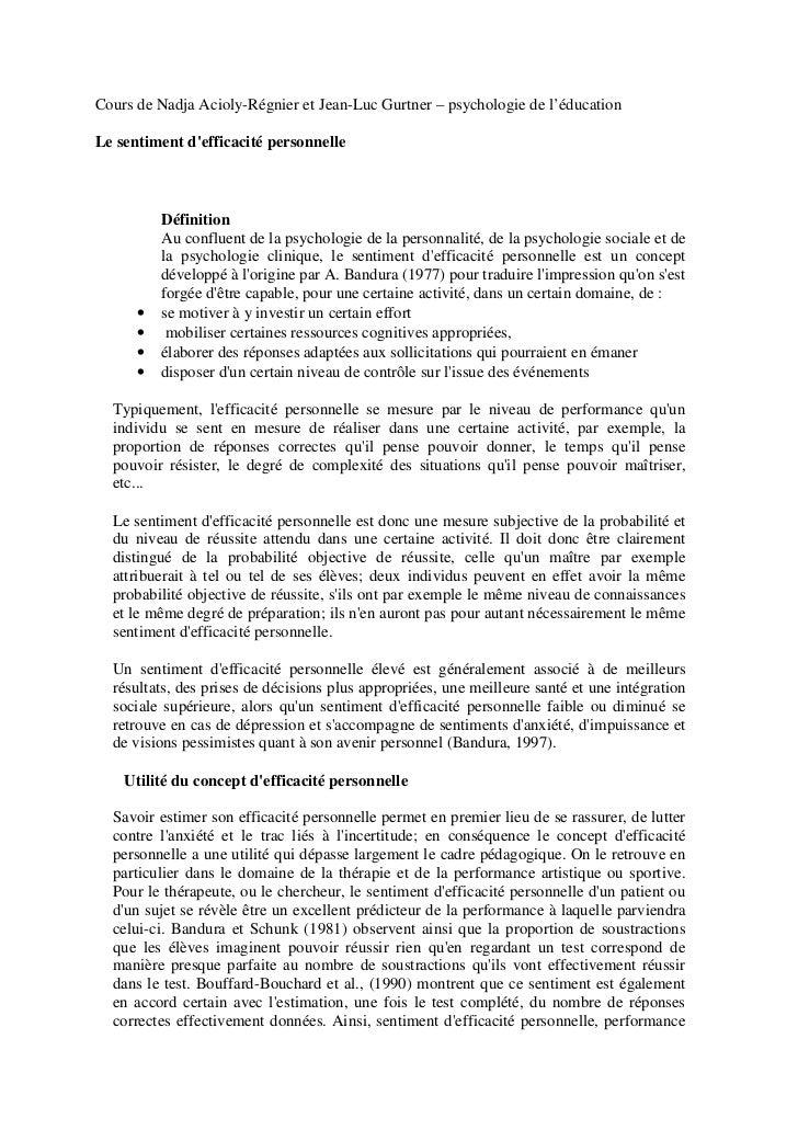 Cours de Nadja Acioly-Régnier et Jean-Luc Gurtner – psychologie de l'éducationLe sentiment defficacité personnelle        ...