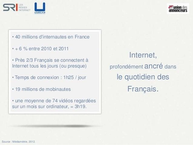 • 40 millions dinternautes en France        • + 6 % entre 2010 et 2011                                                    ...