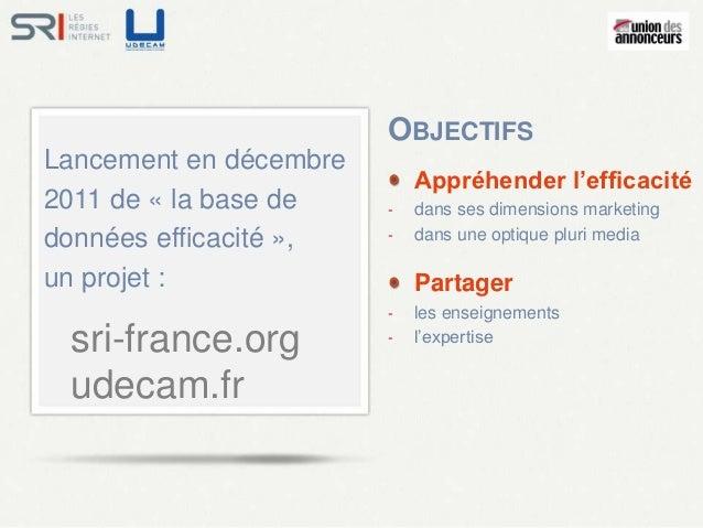OBJECTIFSLancement en décembre                            Appréhender l'efficacité2011 de « la base de    -   dans ses dim...