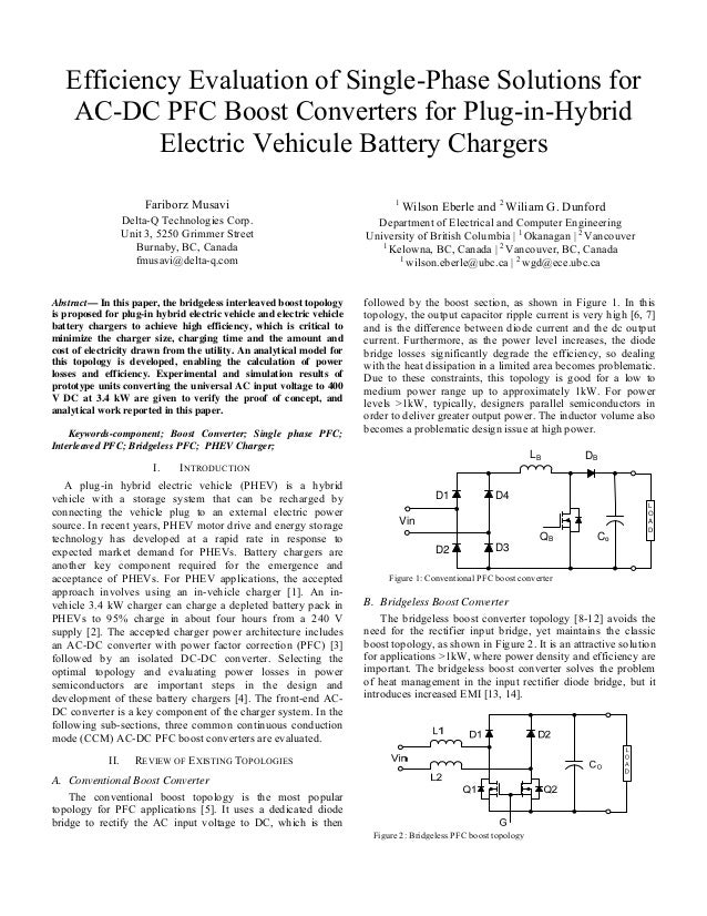 Efficiency Evaluation of Single-Phase Solutions for AC-DC PFC Boost Converters for Plug-in-Hybrid Electric Vehicule Batter...