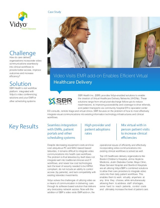 SBR Health Inc. (SBR) provides Vidyo-enabled solutions to enable the creation of Virtual Healthcare Delivery Networks (VHD...