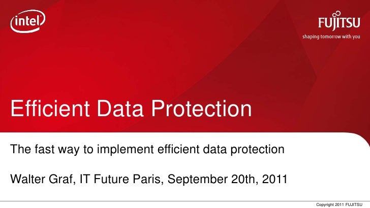 Efficient Data ProtectionThe fast way to implement efficient data protectionWalter Graf, IT Future Paris, September 20th, ...