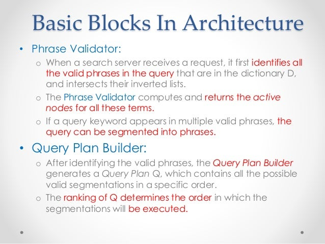 Basic Blocks In Architecture • Phrase Validator: o When a search server receives a request, it first identifies all the va...