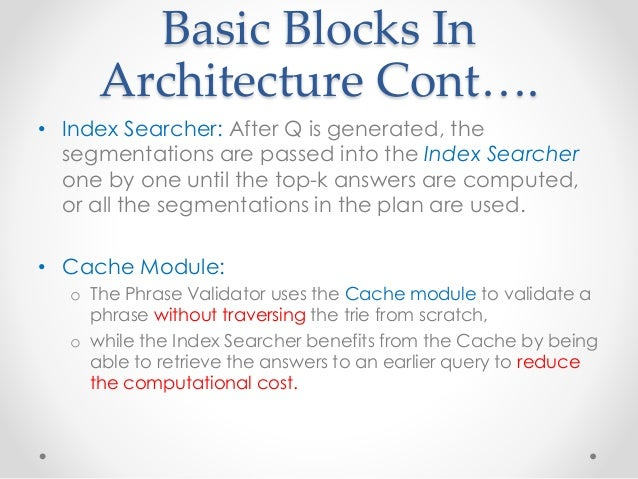 Basic Blocks In Architecture Cont…. • Index Searcher: After Q is generated, the segmentations are passed into the Index Se...