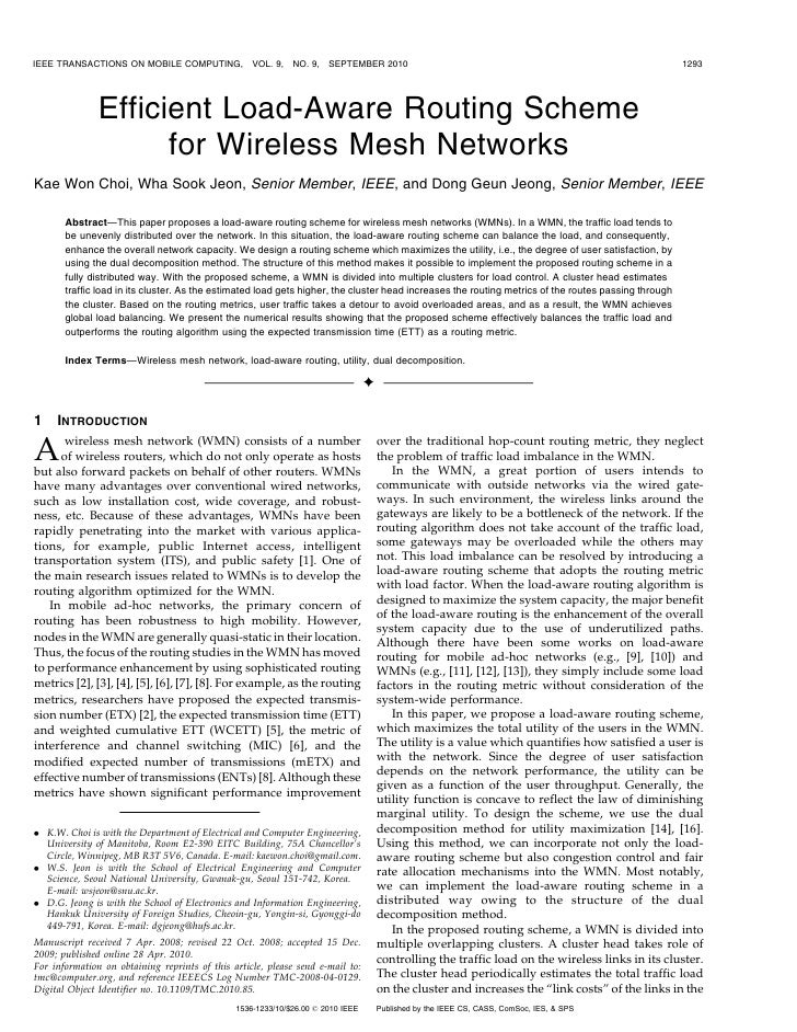 IEEE TRANSACTIONS ON MOBILE COMPUTING,             VOL. 9,   NO. 9,   SEPTEMBER 2010                                      ...
