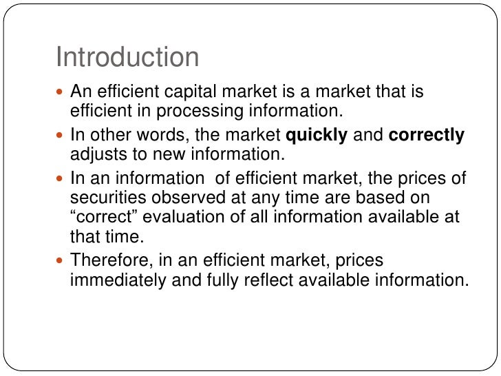 market efficiency and capitalisation Impact of nigerian capital market on of low market capitalization  their study reveals that there is a linkage between capital market efficiency and.