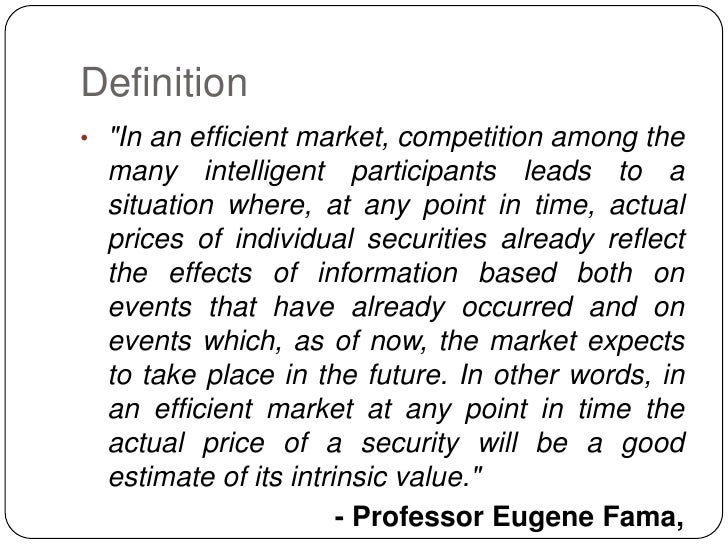 from the efficient market hypothesis to In 2008, nobel laureate eugene fama delivered a brief lecture to the american finance association the entire 30-minute video is included above.