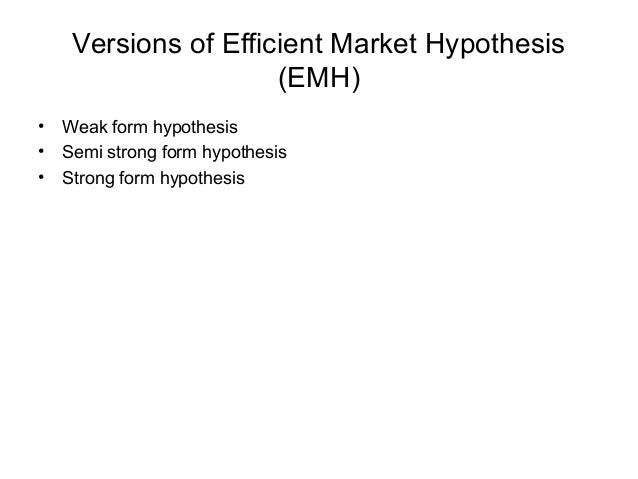 technical analysis efficient market hypothesis The efficient market hypothesis (emh) is a controversial theory that states that   be of no use to perform technical analysis (which is stock price prediction based.
