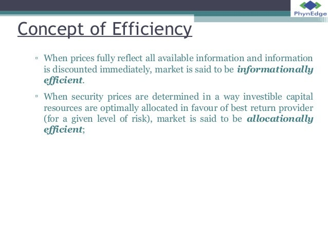 concept of efficient market hypothesis Market efficiency market efficiency is a concept: efficient markets hypothesis (emh) states that stock prices reflectinformation if markets are efficient then new information is reflected quickly into market prices.