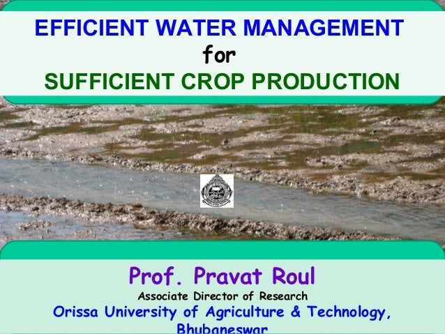 EFFICIENT WATER MANAGEMENTforSUFFICIENT CROP PRODUCTIONProf. Pravat RoulAssociate Director of ResearchOrissa University of...