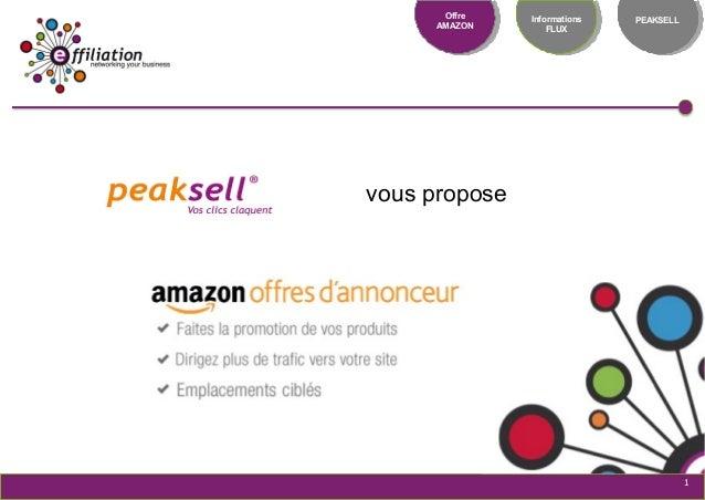 Notre réseau : une force Offre AMAZON Informations FLUX PEAKSELL 1 vous propose