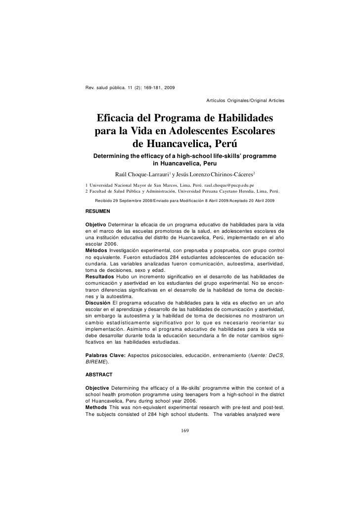 Rev. salud pública. 11 (2): 169-181, 2009                            Choque - Habilidades para la Vida                    ...