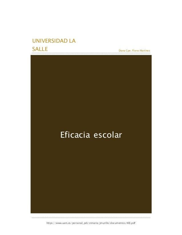 UNIVERSIDAD LA SALLE Diana Gpe. Flores Martínez https://www.uam.es/personal_pdi/stmaria/jmurillo/documentos/IIEE.pdf Efica...