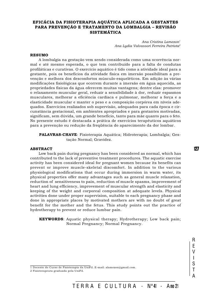 EFICÁCIA DA FISIOTERAPIA AQUÁTICA APLICADA A GESTANTES   PARA PREVENÇÃO E TRATAMENTO DA LOMBALGIA – REVISÃO               ...
