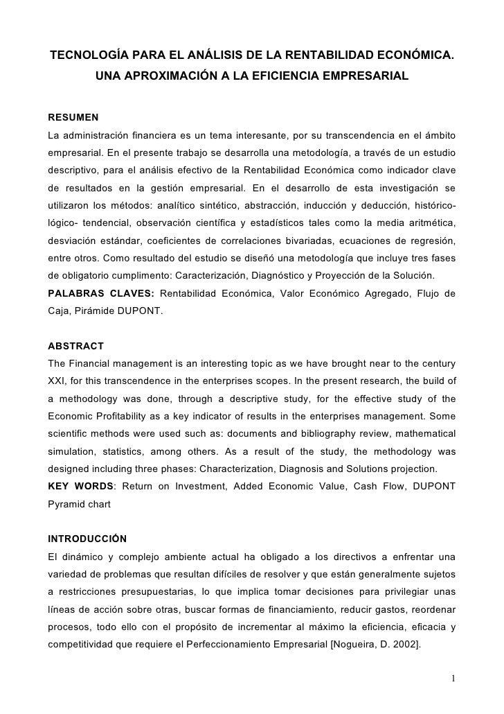 TECNOLOGÍA PARA EL ANÁLISIS DE LA RENTABILIDAD ECONÓMICA.           UNA APROXIMACIÓN A LA EFICIENCIA EMPRESARIAL   RESUMEN...