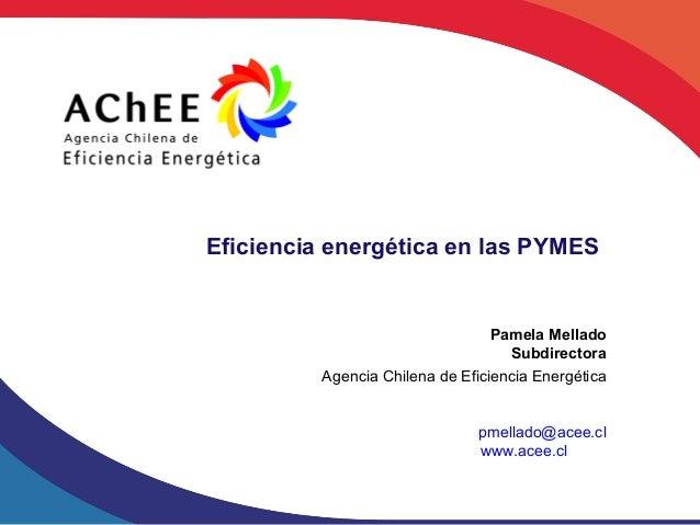 Eficiencia energética en las PYMES                                  Pamela Mellado                                    Subd...