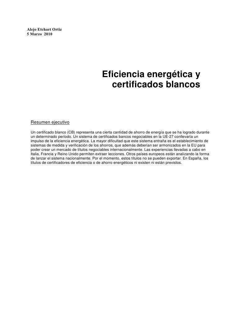 Eficiencia energética y certificados blancos