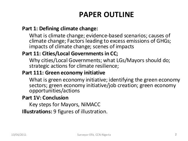 Global warming research paper outline