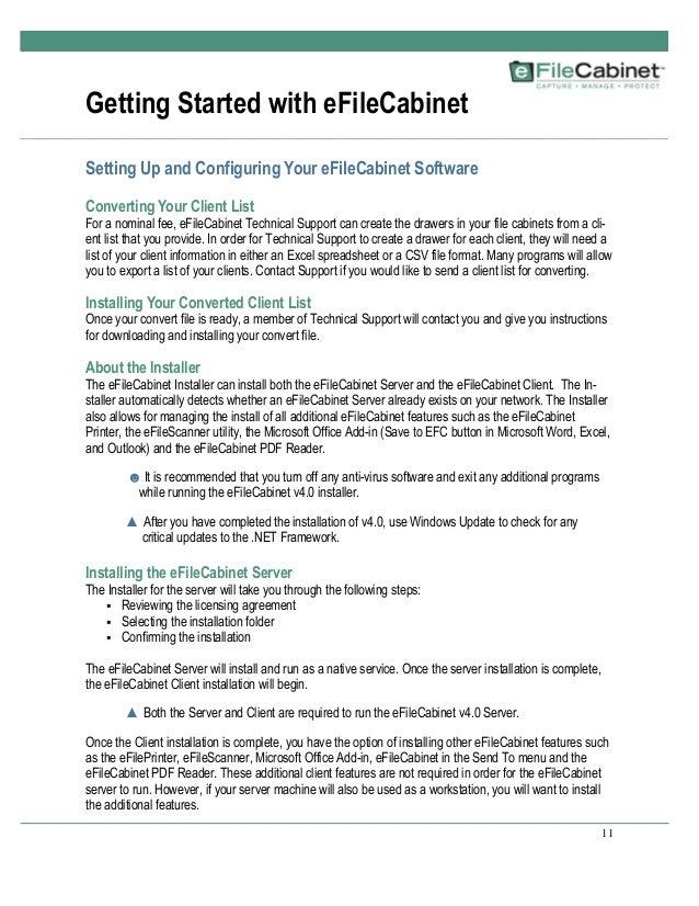 eFileCabinet Manual Version 4.0
