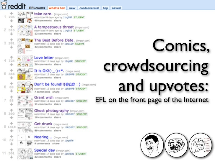 Comics,  crowdsourcing    and upvotes:EFL on the front page of the Internet