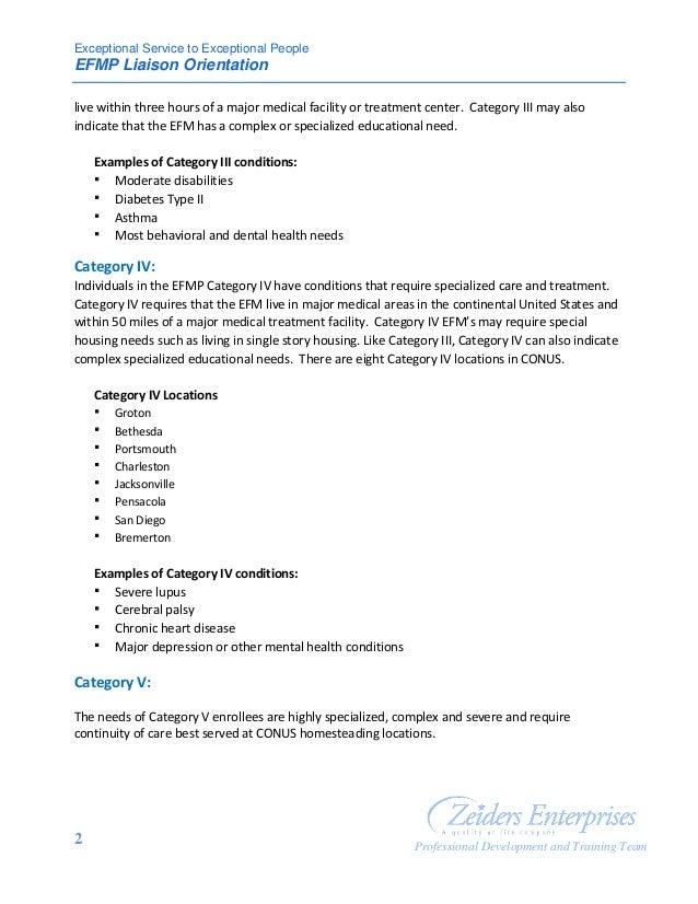 EFMP Categories