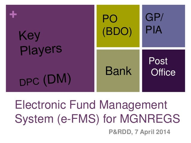 + Electronic Fund Management System (e-FMS) for MGNREGS P&RDD, 7 April 2014 PO (BDO) GP/ PIA Bank Post Office