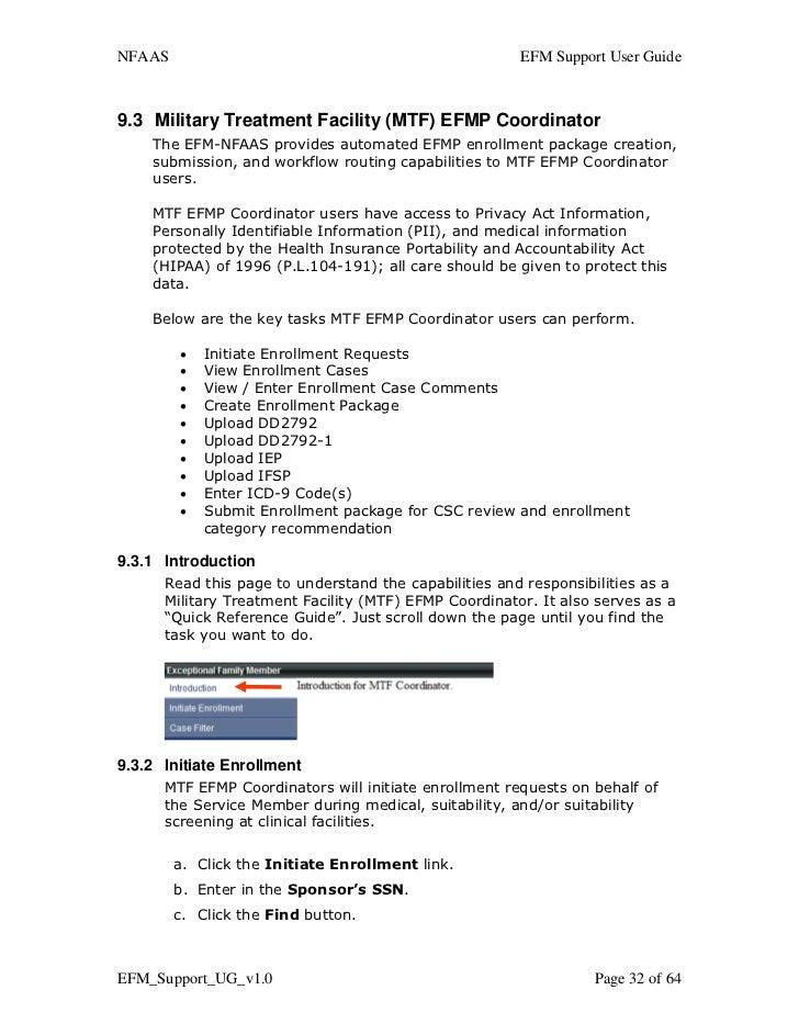 Efm support userguidev101 nfaas efm support user guide93 military treatment facility mtf efmp coordinator the efm nfaas provides automated efmp enrollment package creation sciox Image collections