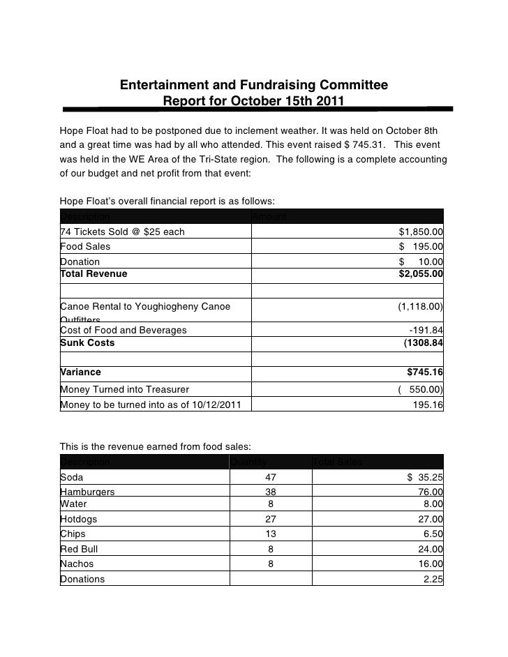Entertainment and Fundraising Committee                     Report for October 15th 2011Hope Float had to be postponed due...
