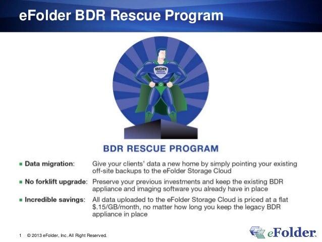eFolder BDR Rescue Program © 2013 eFolder, Inc. All Right Reserved.1