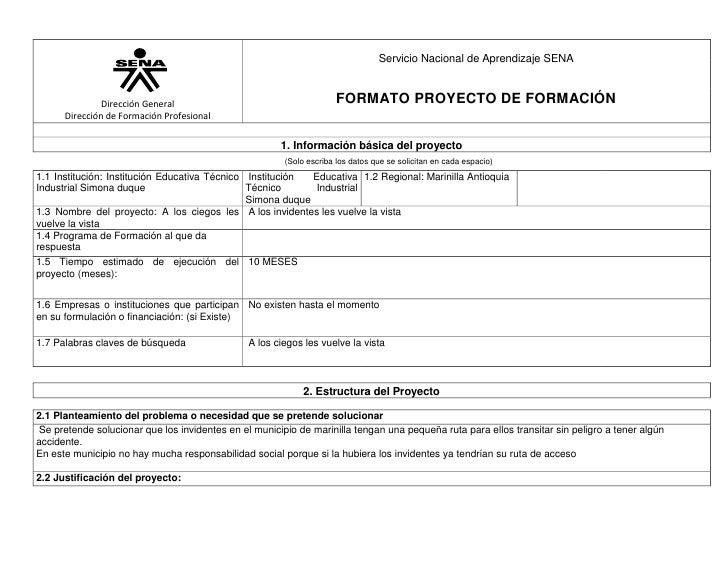 1063625-685800Dirección GeneralDirección de Formación ProfesionalServicio Nacional de Aprendizaje SENAFORMATO PROYECTO DE...