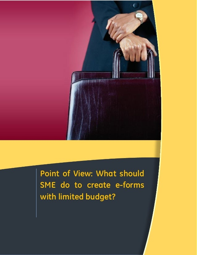 Point of View: What should SME do to create e-forms with limited budget?  CONFIDENTIAL & FOR LIMITED CIRCULATION ONLY