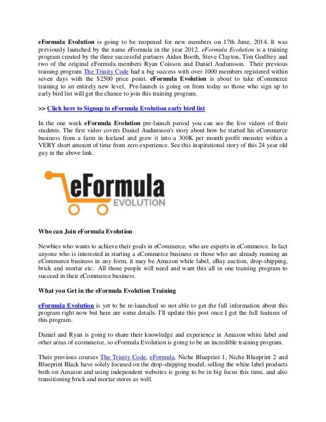 Eformula evolution recession proof formula for ecommerce business eformula evolution is going to be reopened for new members on 17th june 2014 malvernweather Images