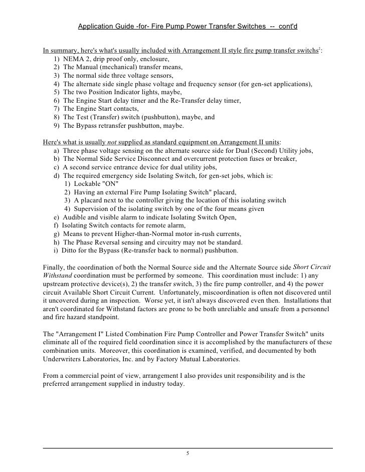 fire pump transfer switch requirements for arrangement ii 4 5 application guide for fire pump power transfer switches