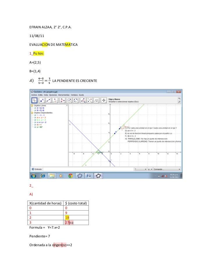 EFRAIN ALZAA, 2° 2°, C.P.A.11/08/11EVALUACION DE MATEMATICA1_Pu tos:A=(2,5)B=(1,4)               LA PENDIENTE ES CRECIENTE...
