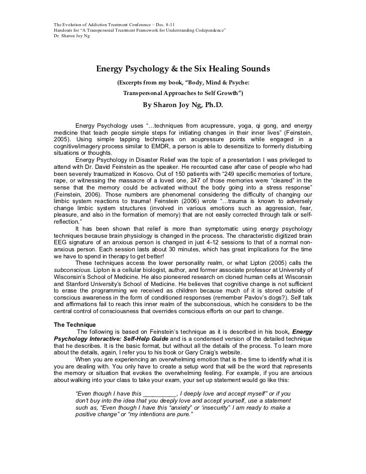 """The Evolution of Addiction Treatment Conference – Dec. 8-11Handouts for """"A Transpersonal Treatment Framework for Understan..."""