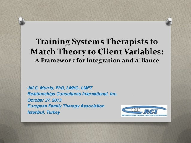Training Systems Therapists to Match Theory to Client Variables: A Framework for Integration and Alliance  Jill C. Morris,...