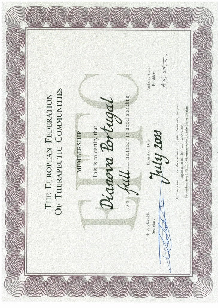 EFTC full membership Certificate 2010 Dianova