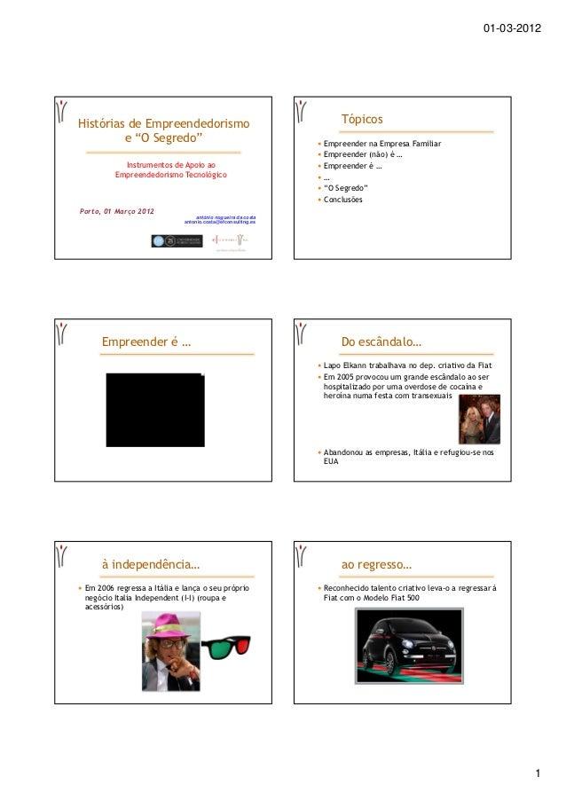 """01-03-2012Histórias de Empreendedorismo                                    Tópicos         e """"O Segredo""""                  ..."""
