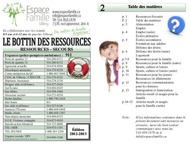 Table des matières                                                    www.espacefamille.ca                                ...