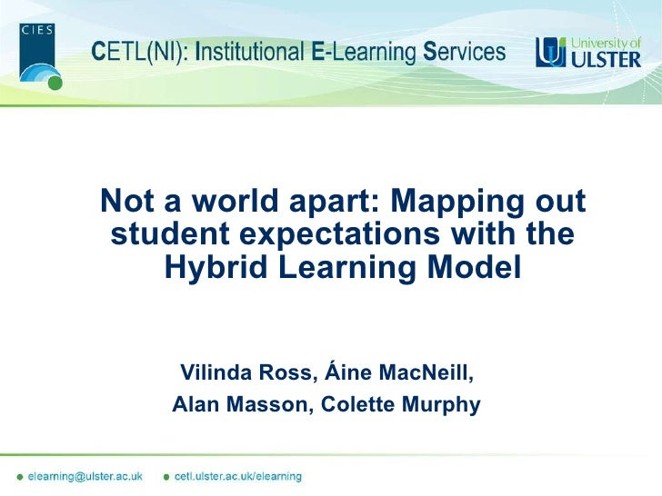 Not a world apart: Mapping out student expectations with the Hybrid Learning Model Vilinda Ross, Áine MacNeill,  Alan Mass...