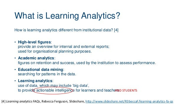 What is Learning Analytics? How is learning analytics different from institutional data? [4] • High-level figures: provide...